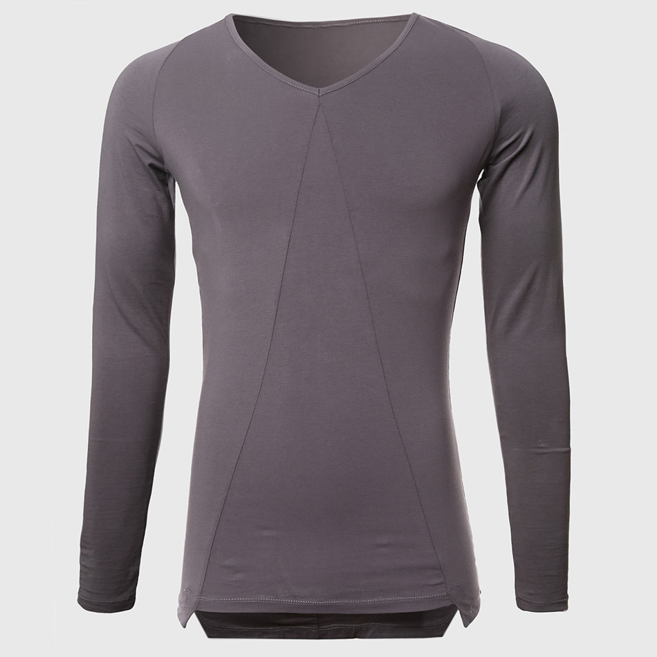 Men Black Longline T Shirts Long Sleeve V Neck Tee Shirts