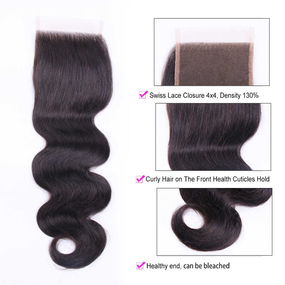 Clover Leaf Peruvian Body Wave Hair 3 Bundles With Closure Natural Black Remy Hair Human Hair Extension Bundles With 4*4 Closure
