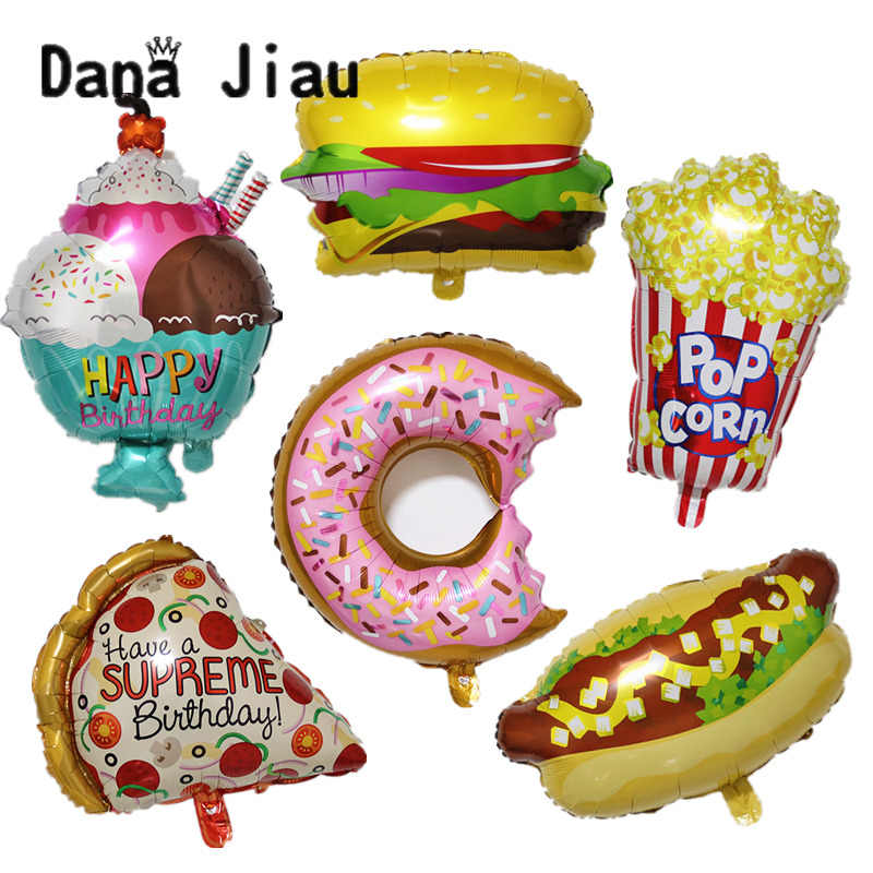 New big Hamburg ice cream Popcorn cake donut Pizza food balloon birthday party decoration cake shop inflatable balloons