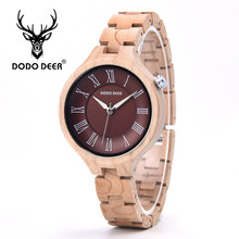 DODO DEER Fashion Handmade Wooden Watches Lady Simple Quartz Maple Wood Timepieces Customized Women Watch Gift Drop Ship A14-3