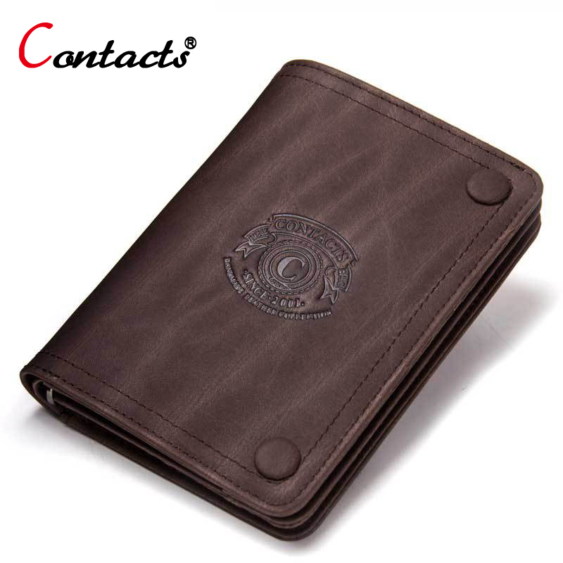CONTACT'S Crazy Horse Cow Genuine Leather Wallet Men Wallet Male Purse Small Credit Card Holder Coin Purse Slim Money Bag Perse williampolo mens mini wallet black purse card holder genuine leather slim wallet men small purse short bifold cowhide 2 fold bag