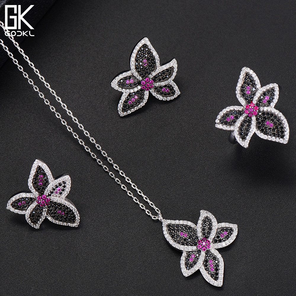 GODKI Elegant S925 Sterling Silver Flower Party Jewelry Sets For Women Wedding Cubic Zircon Crystal CZ Dubai Bridal jewelry SetsGODKI Elegant S925 Sterling Silver Flower Party Jewelry Sets For Women Wedding Cubic Zircon Crystal CZ Dubai Bridal jewelry Sets