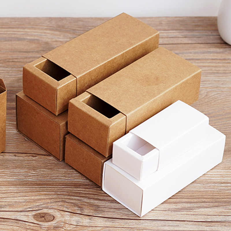 20pcs- 10/30/50/100ml  Blank White Kraft Paper Drawer Boxes for Cosmetics Essential Oil Dropper Bottle Jewelry Gift Packaging