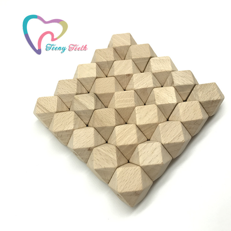 Teeny Teeth Beech Wood Hexagon 15 mm Beads Unfinished Beech Beads DIY Craft Jewelry Safe For New Mommy Chewable Hexagon Beads ...