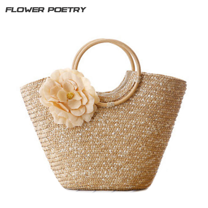 women handbags beach bag Bohemian women straw bag summer style handbags bolsas women's Annular handle tote bags travel bags handmade flower appliques straw woven bulk bags trendy summer styles beach travel tote bags women beatiful handbags