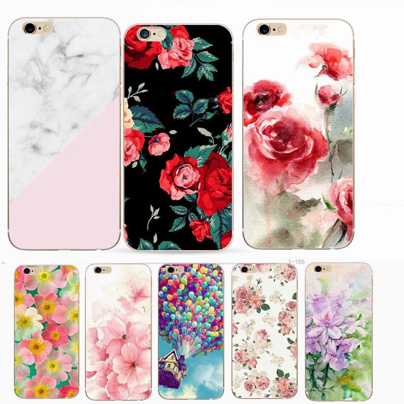 Ultra Thin Phone Case For iPhone 6 6S Flower Painting Pattern TPU Bags Cover Fundas Shell For Iphone 7 6S 6 5S 5 SE 8 7 Plus X