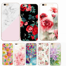 iPhone 6 6S Flower Painting Pattern TPU Bags Cover Fundas Shell For Iphone 7 6S 6 5S 5 SE 8 7 Plus X