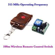 100 m Interruptor de Controle Remoto Sem Fio + Receptor para Controle de Acesso Porta Aberta Acesso 1CH Receptor Transmissor 315 MHz