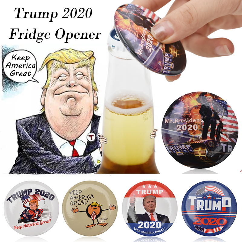 2019 New Creative Trump 2020 Metal Beer Fridge Magnet Opener Souvenirs Fridge Magnet Sticker Home Decor Gift For Man