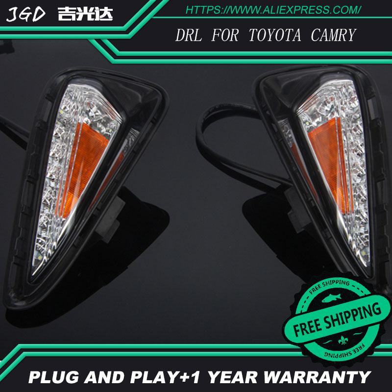 Горячая продажа ! 12В 2шт/1set 6000K светодиодные DRL фары дневного света чехол для Тойота Камри 2015 2016 противотуманные Автомобильные фары стайлинга