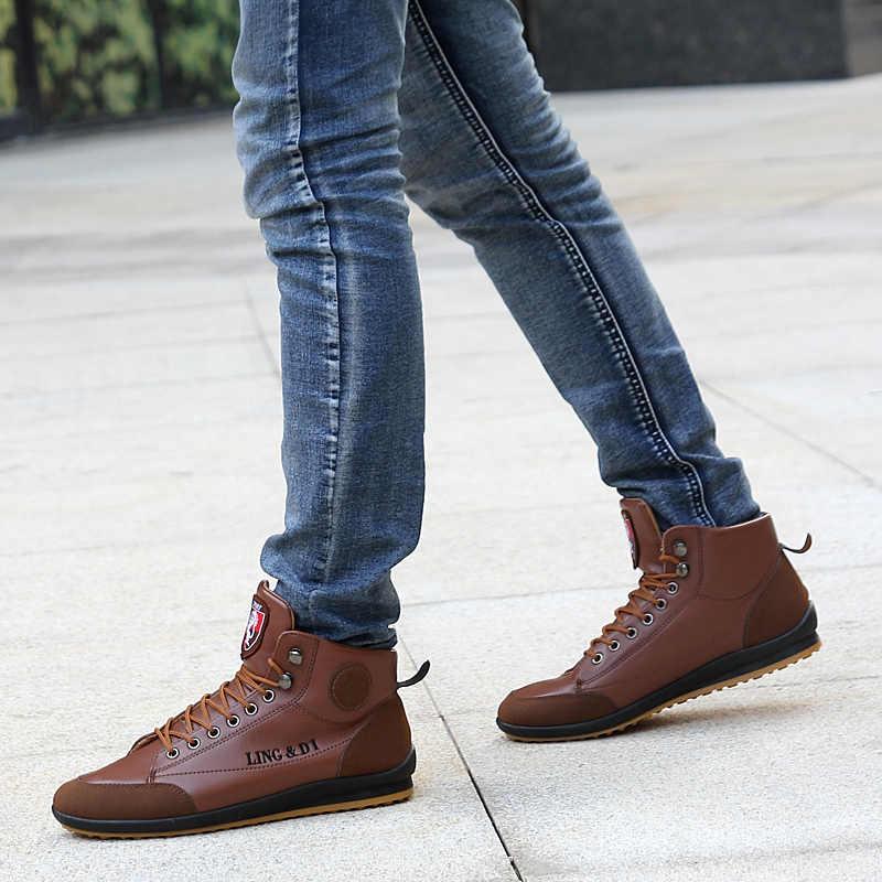 Волк, который в стиле ретро зимние Для мужчин кожа хлопковые сапоги супер теплый Повседневное мужские кроссовки на шнуровке пестрые ботинки из материалов разных фактур Мужская обувь W067