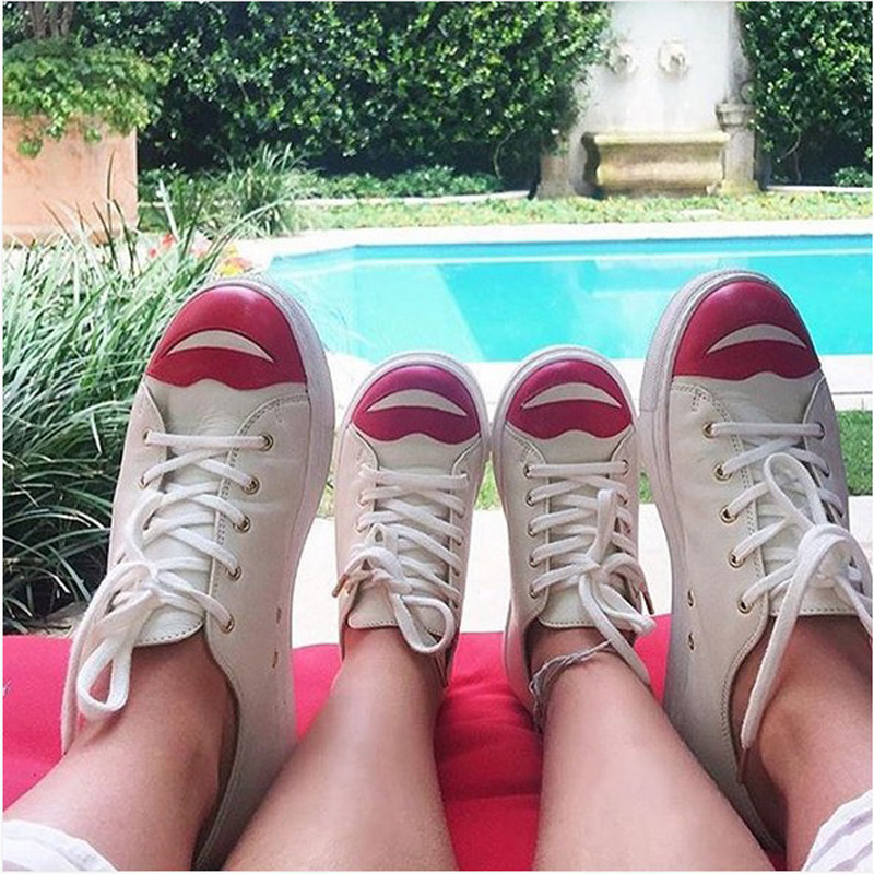 Red lip Sneakers Women Casual Shoes Summer 2018 Spring Women Shoes Fashion Embroidered Breathable Hollow Lace-Up Women Sneakers new women s vulcanize shoes spring summer slip on sneakers black casual shoes women breathable hollow out woman sneakers