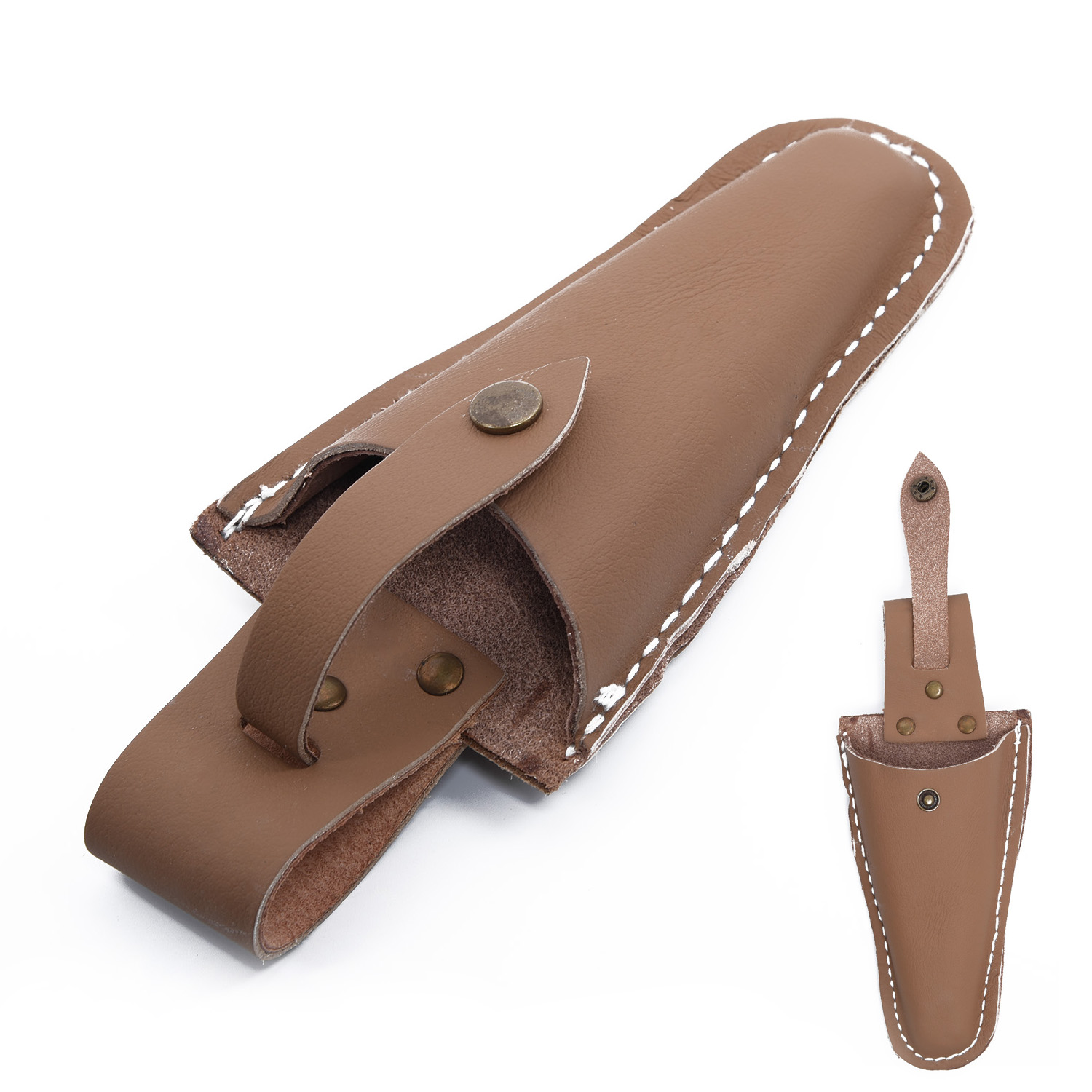 1*Leather Sheath Set Holsters Gardening Pouch Belt Electrician Scissors Brown