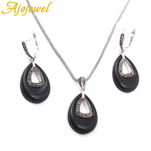 Ajojewel Brand Black/Green Jewelry Sets New For Women Hollow Out Water Drop Pendant Necklace Earrings Jewelry Accessories a suit of graceful water drop hollow out necklace earrings ring and bracelet for women
