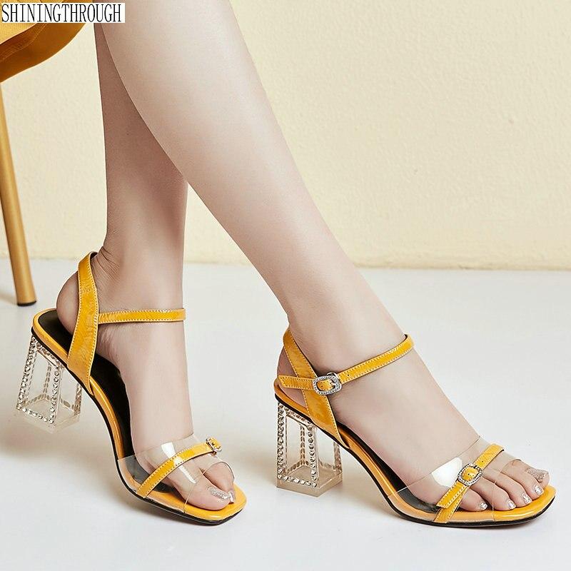 Mujer Tacón Cuero Para De Genuino Sandalias Cristal H9bed2ieyw Alto Nn8wvm0