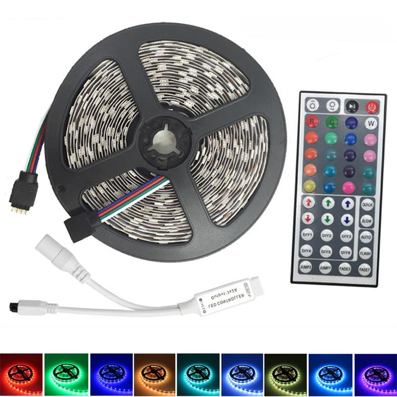 5M DC12V Waterproof LED Strip 5050 SMD 60LEDs/M Flexible RGB Light Led Tape Ribbon With 44Keys Remote Controller For Party Decor