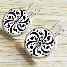 NEW Arrival Mandala Stud Earrings OM Symbol Buddhism Zen Jewelry Vintage Earrings Women French Hook Ear Pendant