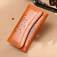 DOYUTIG Brand Design 100% Genuine Cowhide Leather Long Wallets Lady Hollow Flower Pattern Vintage Money Purses & Wallets A191