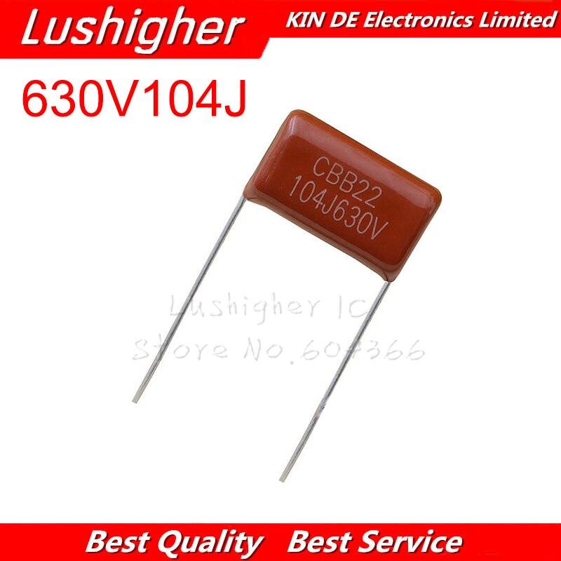 10PCS 630V104J CBB Pitch 15mm 0.1UF 100nf 630V 104J 104 Polypropylene Film Capacitor