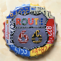 ROUTE 66 Large Beer Cover Tin Sign Logo Plaque Vintage Metal Painting Wall Sticker Iron Sign Bar KTV Store Decorative 40X40 CM
