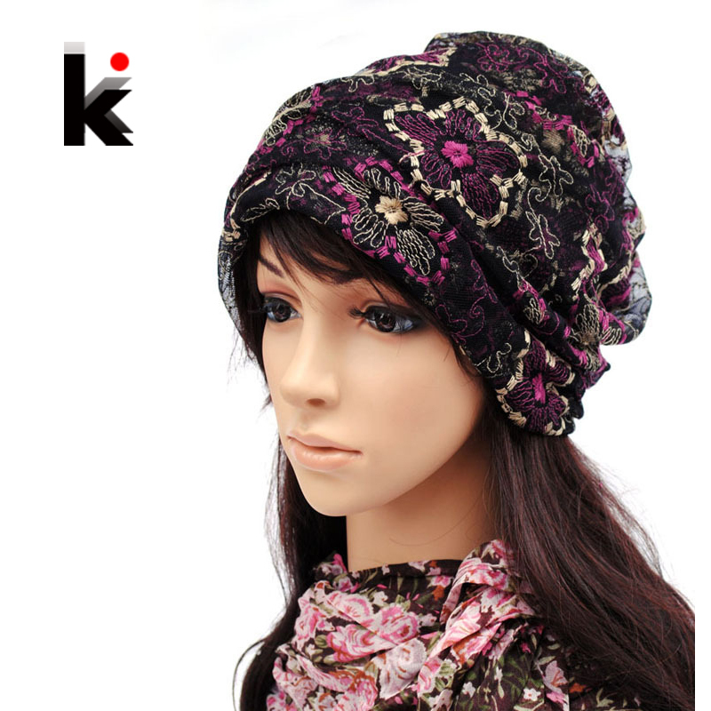 Beanie Spring And Autumn Female Skullies Mercerizing Lace Pullover Can Cross Hair Hat Turban Beanie Hats For Women