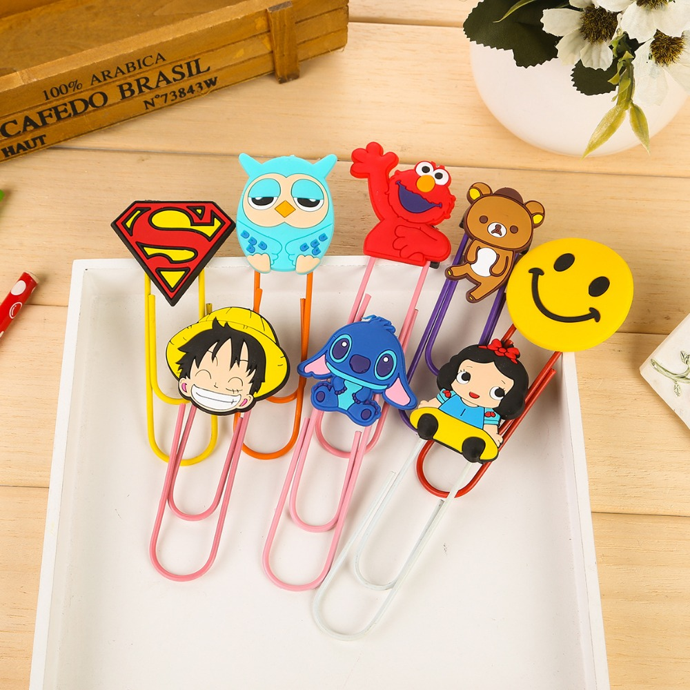 1 PCS New Lovely Cartoon Animal Superman Bookmark Clip Memo Clip Paper Clip Bookmark School Office Supply Paperclip Bookmarks