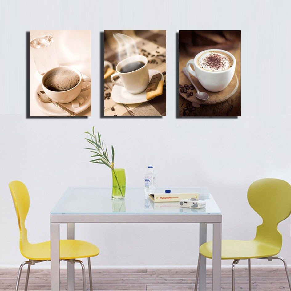 Set Of 3 Coffee Cup Canvas Wraps: 3 Piece Coffee Cup Painting Wall Art Pictures Kitchen Room