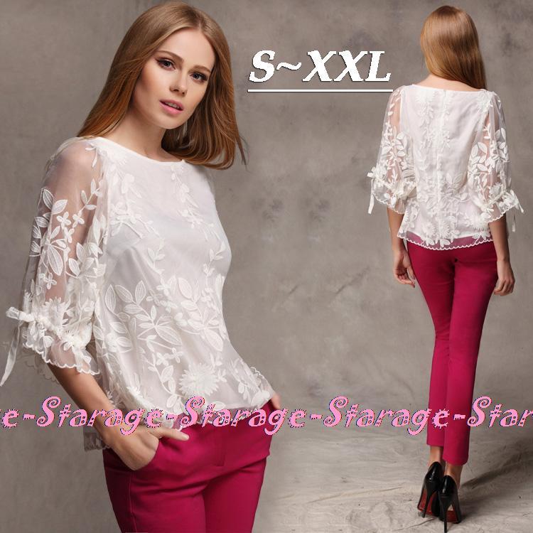 S XXL White Floral Organza Half sleeve Lace Blouse Women ...
