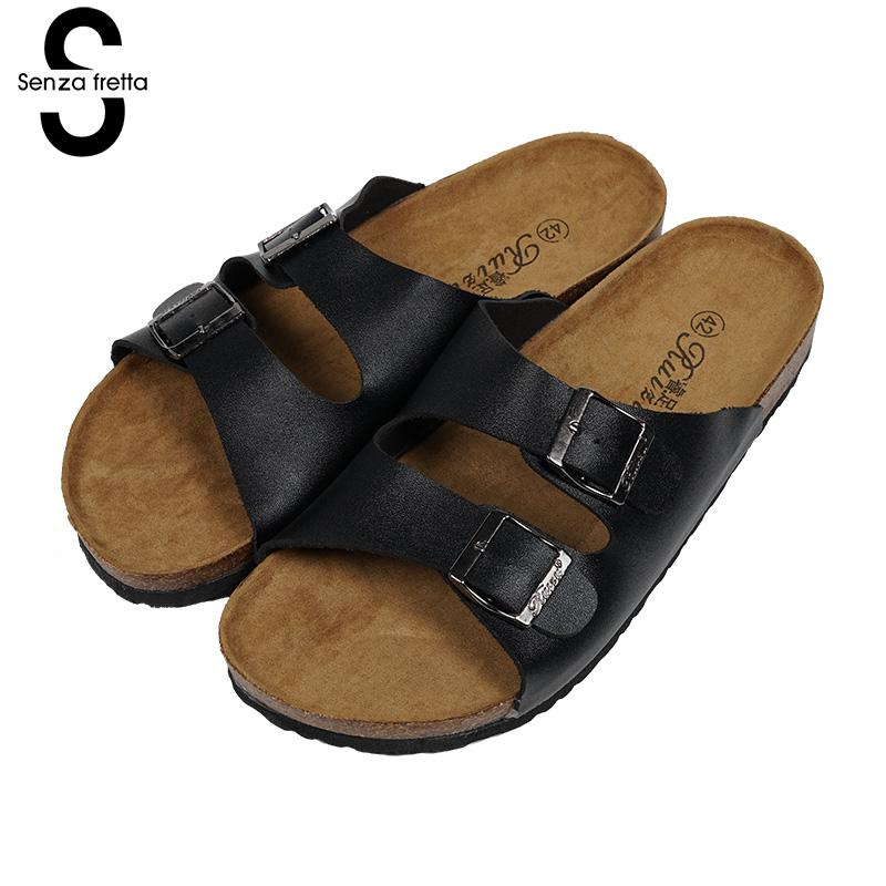 Senza Fretta Summer Men Shoes Cork Male Slippers Casual Sandals Cork Slippers Man Beach Slippers Flats Men Shoes Big Size 41-45 fghgf shoes men s slippers hma