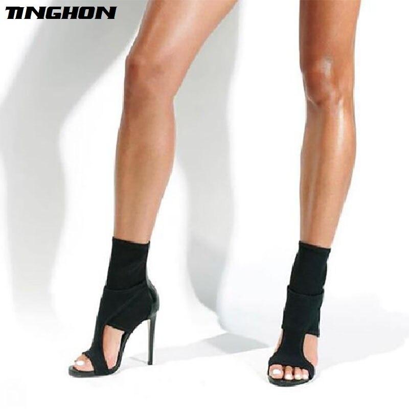 Chelsea Tacón heeledl Bombas Tinghon Tobillo Abierto Black Tejido Alta Zapatos  Mujer Elástico Sandalias De Aguja Tacones Delgado Botas Correa gpOwpx8d e6e4d758cb27