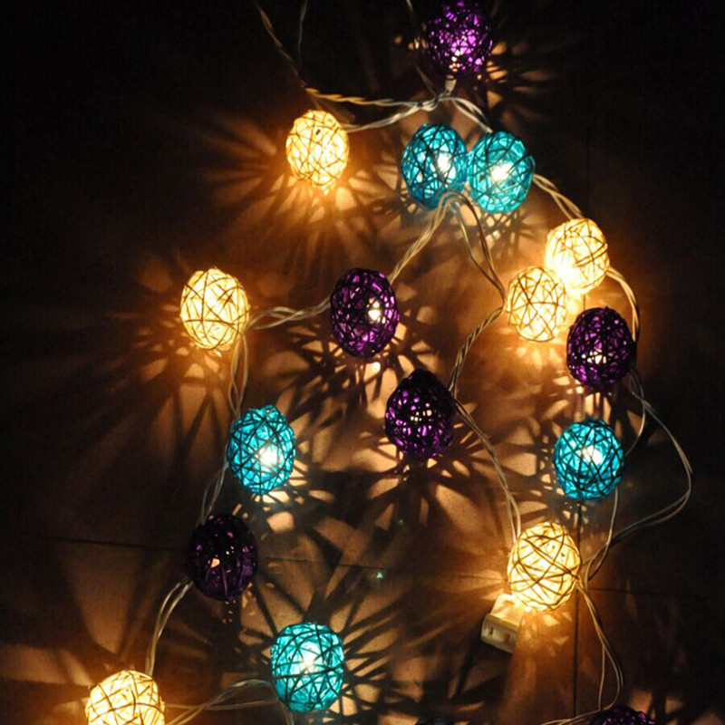 25m 20 rattan ball led string light christmas 220v 110v garden holiday pendant garland wedding decoration fairy lights party