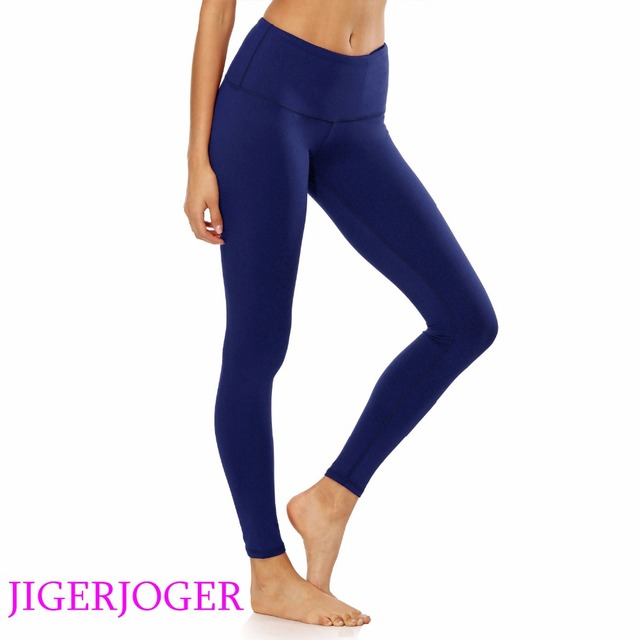 bce6a03c2fa3b JIGERJOGER Brand quality high Rise with pocket Navy blue pilate compression tight  pants Women's yoga Leggings free drop shipping