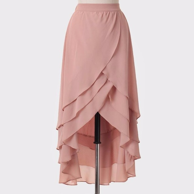 81e172fd6e4 2017 Elegant Women Chiffon Skirt High Low Tiered Ruffles Long Skirt