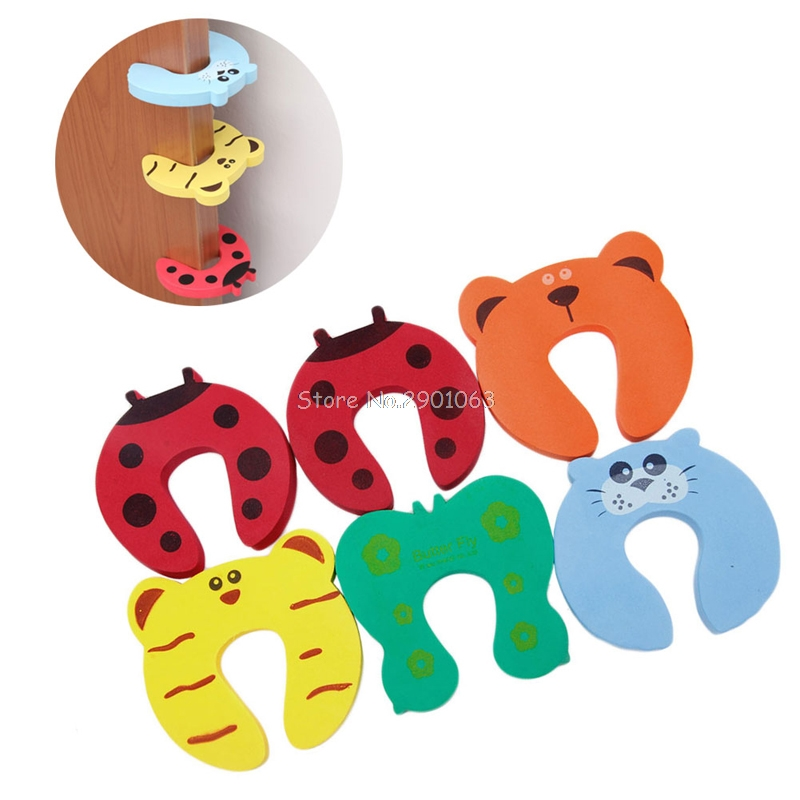 6Pcs Baby Child Finger Pinch Guard Lock Jammer Stopper Protector Safety Door Stop H06 5pcs lot baby newborn care child lock protection from children protection baby safety cute animal security card door stopper