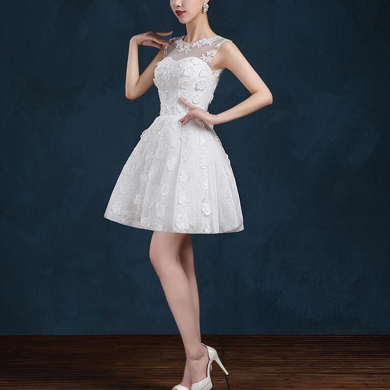 2016 New Arrival Evening Dresses Sexy See Through Back Bride Gown Short White Ball Prom Party Homecoming/Graduation Formal Dress