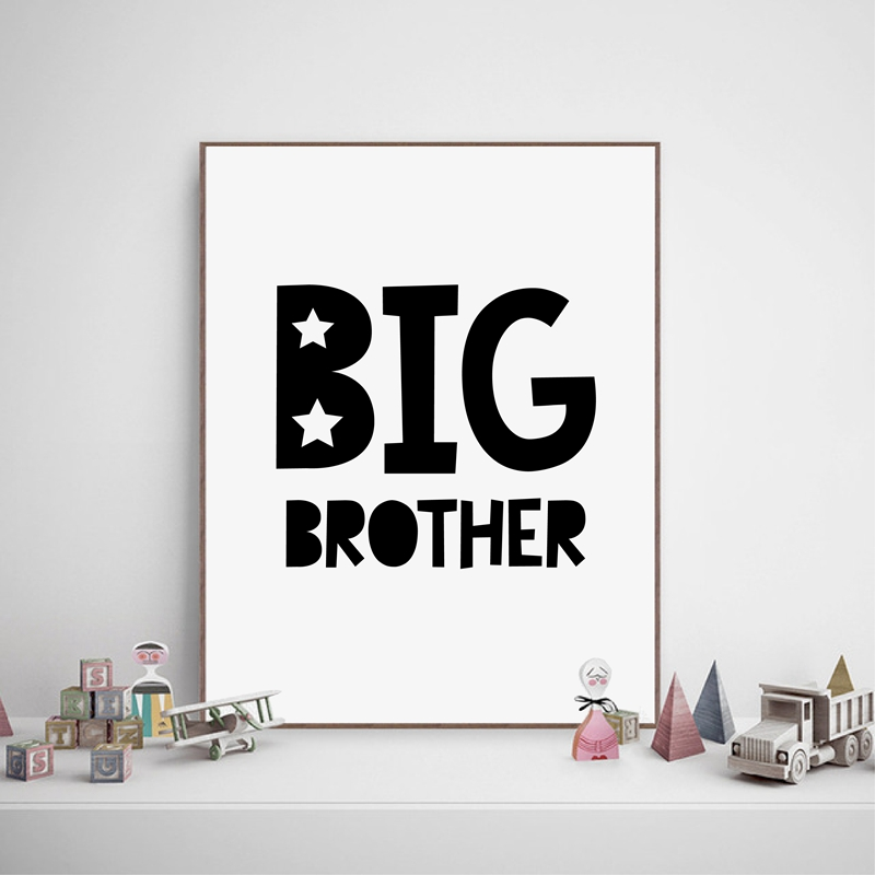 Big Brother Quote Print Boy's Room Wall Art Canvas Poster Definition  Painting Playroom Prints