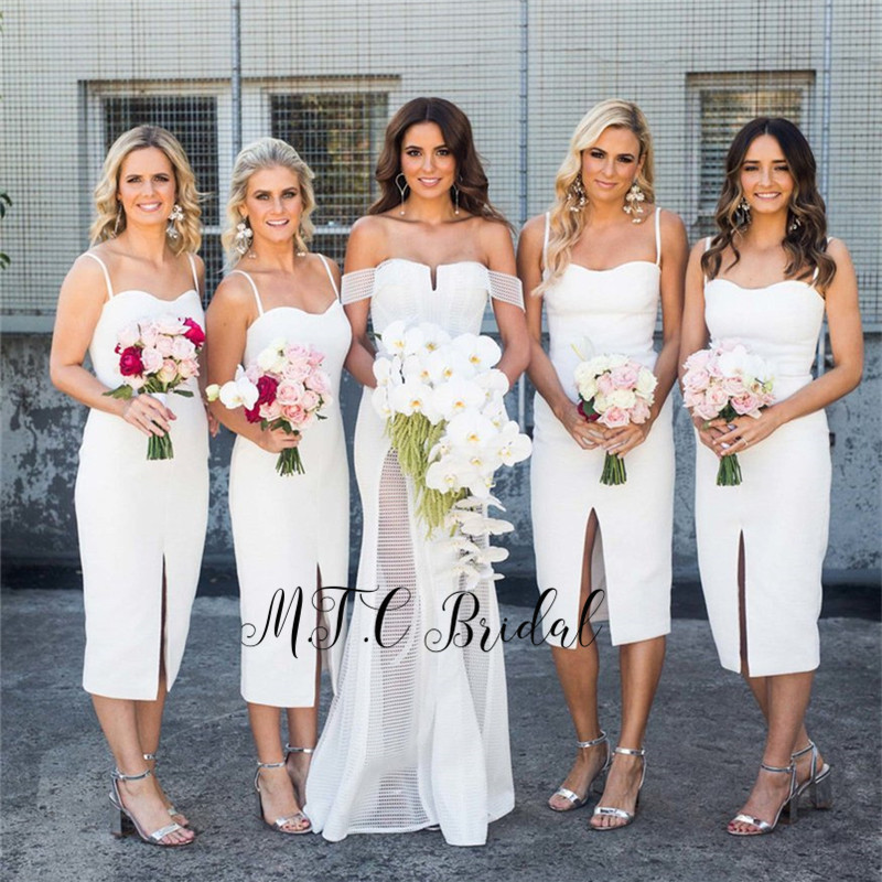 White Short   Bridesmaid     Dresses   Strapless Spaghetti Strap Sheath Style Charming Maid Of Honor   Dress   2019 Cheap Wedding Party Gown