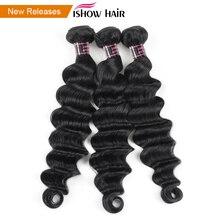 Ishow Hair Loose Глубокая Волна Пучки Бразильские Пучки Волос 100% Наращивание Человеческих Волос