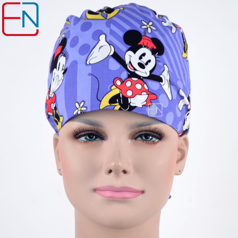 Hennar Cartoon Print Doctor Work Caps Masks Women Adjustable Nurse Medical Accessories Surgical Cap Medicine Facial Scrub Hat