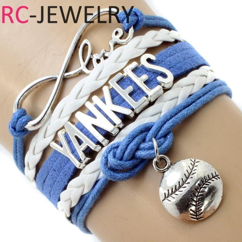 10pcs/lot Infinity Love NY Yankees Team Bracelet DIY Sports Charm Bracelet & Bangles for Baseball Fans Fashion Jewelry
