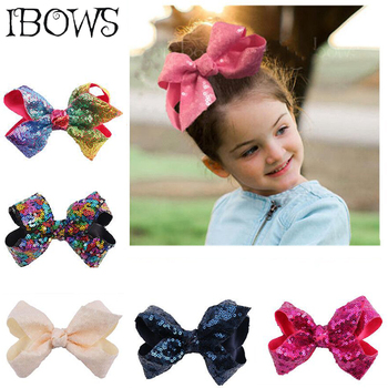 """5"""" Girls Sequin Hair Bows Bling Grosgrain Ribbon Hairbows With Alligator Clips For Kids Handmade Hairclip Hair Accessories"""