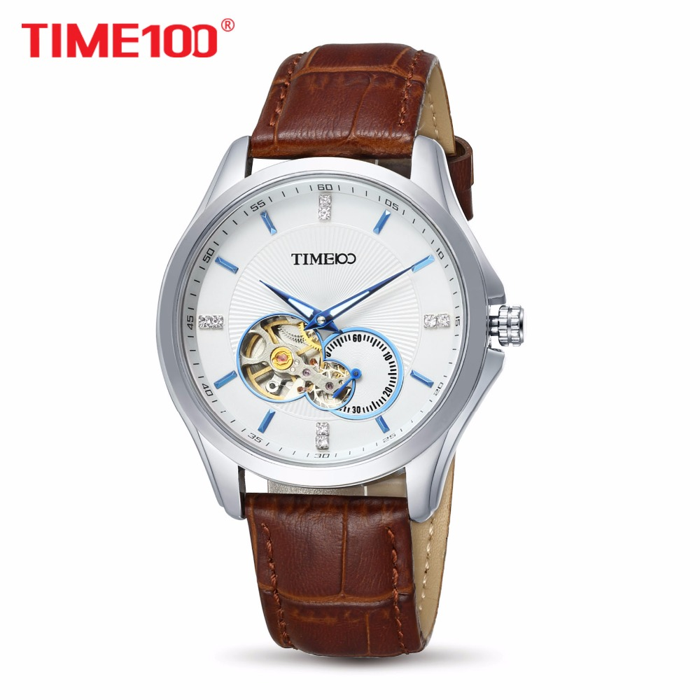 Fashion TIME100 Mens watches Automatic Self-wind Mechanical Metal Skeleton Watches Black Leather Strap orologio uomo automaticFashion TIME100 Mens watches Automatic Self-wind Mechanical Metal Skeleton Watches Black Leather Strap orologio uomo automatic