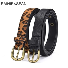 RAINIE SEAN Leopard Women Belt Thin Pin Buckle Pu Leather Spring Summer Ladies Korean Fashion Female Waist