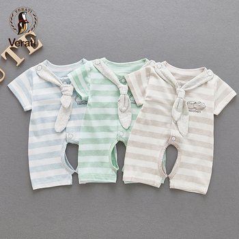 VERATI 2018 Summer New 0-2 years Baby Girls Boys Navy Style Striped Baby Onesie Short Sleeves Cotton Baby Overalls Romper V061