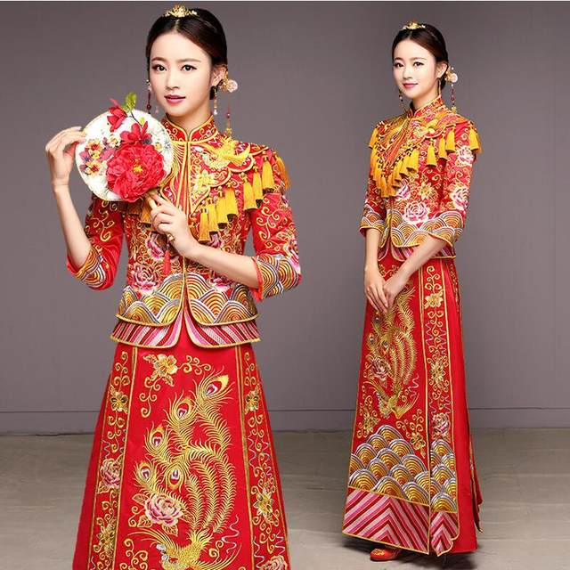 Online Shop Ancient marriage costume the bride clothing gown ...