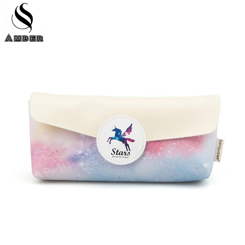Kawaii Pegasus Unicorn Dream Stars Pencil Case Korean Stationery Starry Sky Cosmetic Case Pen Bag School Supplies For Kids Gift