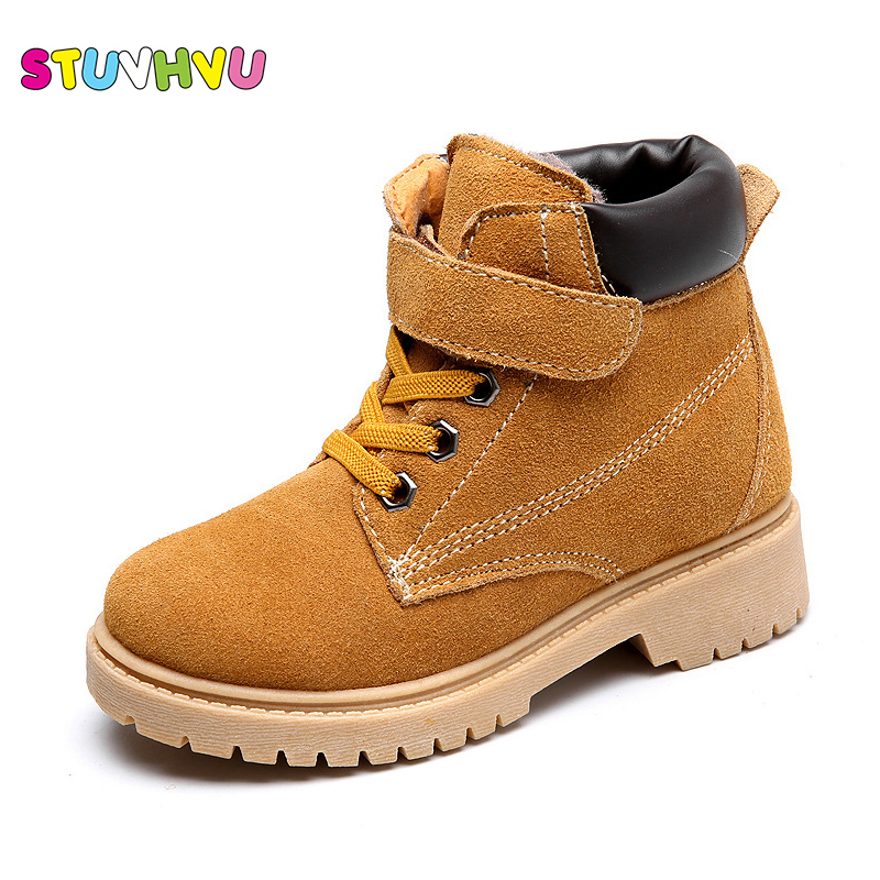 Autumn and winter new genuine leather children Martin boots big kids boys girls plus cashmere cotton shoes waterproof snow boots 2014 new autumn and winter children s shoes ankle boots leather single boots bow princess boys and girls shoes y 451
