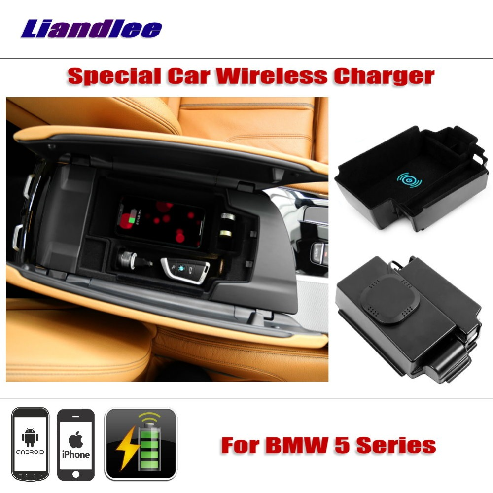 Liandlee For BMW 5 Series G30/G31/G38 2018 Special Car Wireless Charger Armrest Storage For iPhone Android Phone Battery Charger for bmw 5 series 6 sereis g38 gt 525 530li 2018 car qi wireless charger fast charging quick charger for iphone 8 x plus