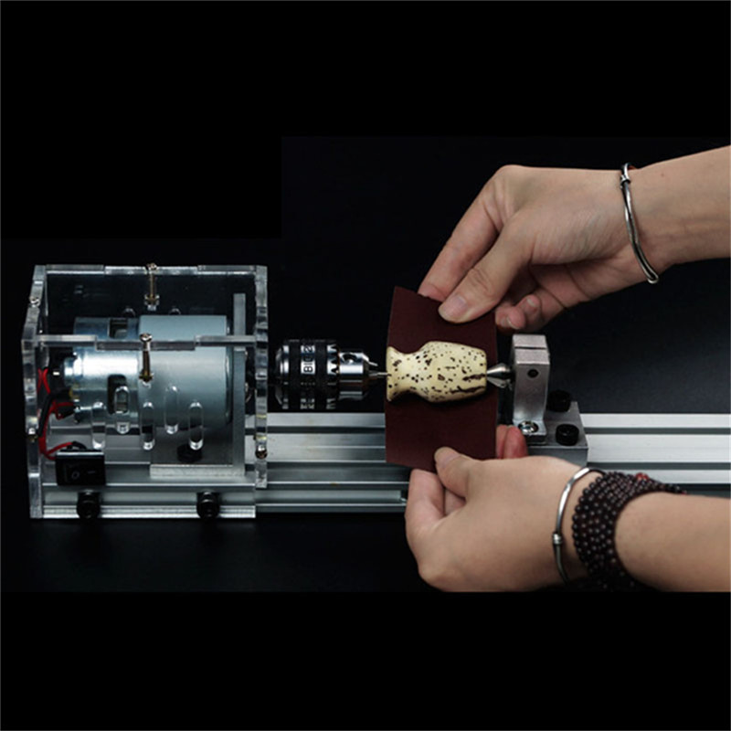 Multifunctional Micro Lathe Woodworking Machine Polishing Small Beads Household DIY Wood Lathe 80W 24V цены