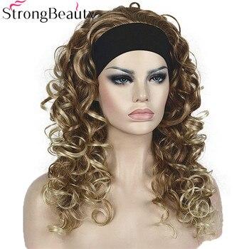 Starke Schönheit Synthetische Halbe Perücke Mit Stirnband Lange Lockige Volle Capless Frauen Perücken